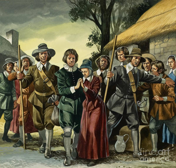 Condemned Wall Art - Painting - Puritans by Ron Embleton