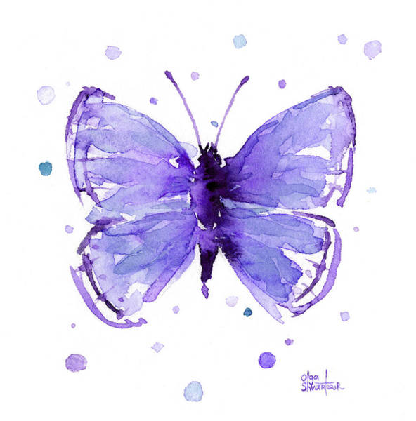 Purple Painting - Purple Abstract Butterfly by Olga Shvartsur