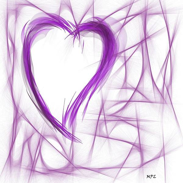 Painting - Purple Abstract Heart  by Marian Palucci-Lonzetta