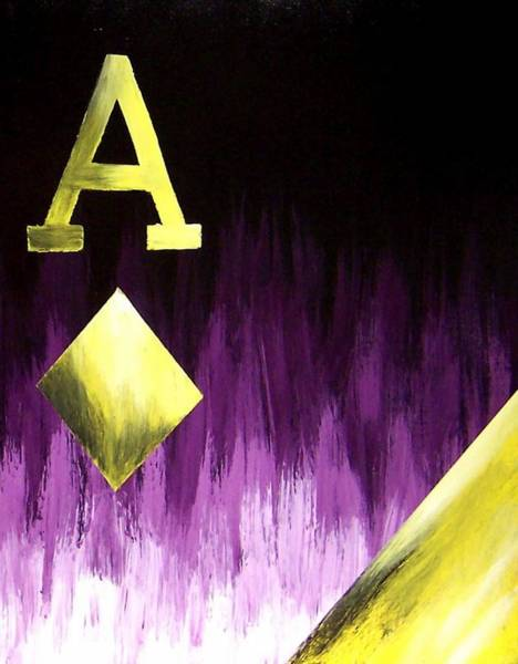 Poker Wall Art - Painting - Purple Aces Poker Art2of4 by Teo Alfonso