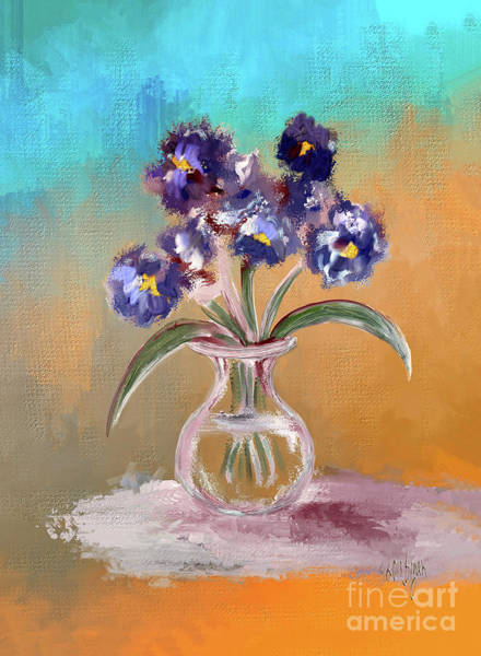 Digital Art - Purple And Blue Pansies In Glass Vase by Lois Bryan