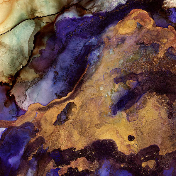 Fluid Digital Art - Purple And Gold Abstract by Spacefrog Designs