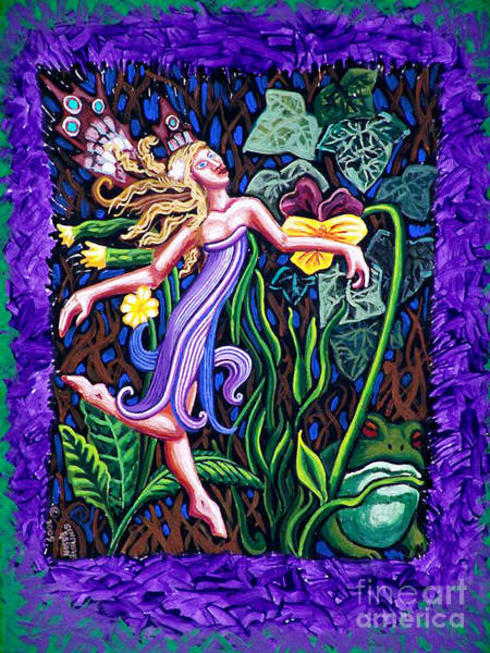 Floral Shower Curtain Painting - Purple And Green Fairy by Genevieve Esson
