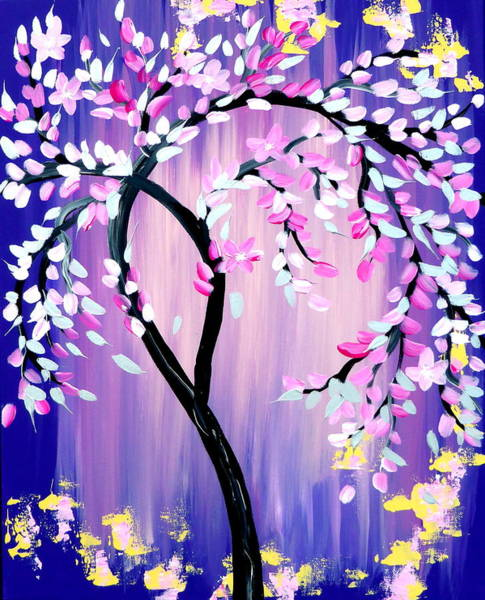 Framing Painting - Purple And Pink Cherry Blossom Tree by Cathy Jacobs