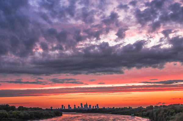 Purple And Red Sky Over Warsaw And Vistula River Art Print