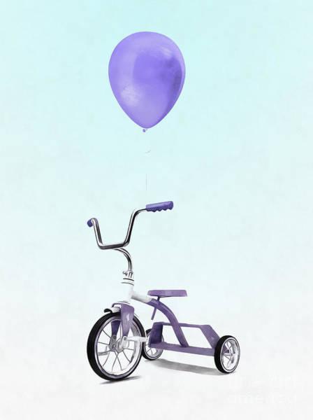 Wall Art - Digital Art - Purple Balloon Purple Tricycle by Edward Fielding