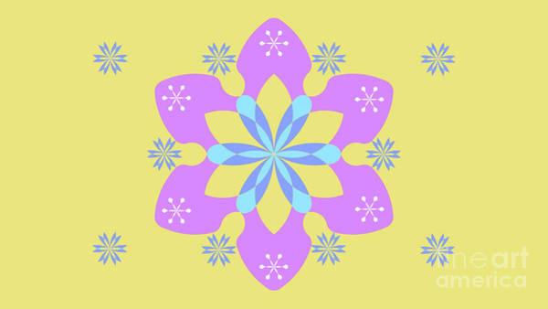 Cyan Digital Art - Purple, Blue And Yellow Abstract Star by Drawspots Illustrations