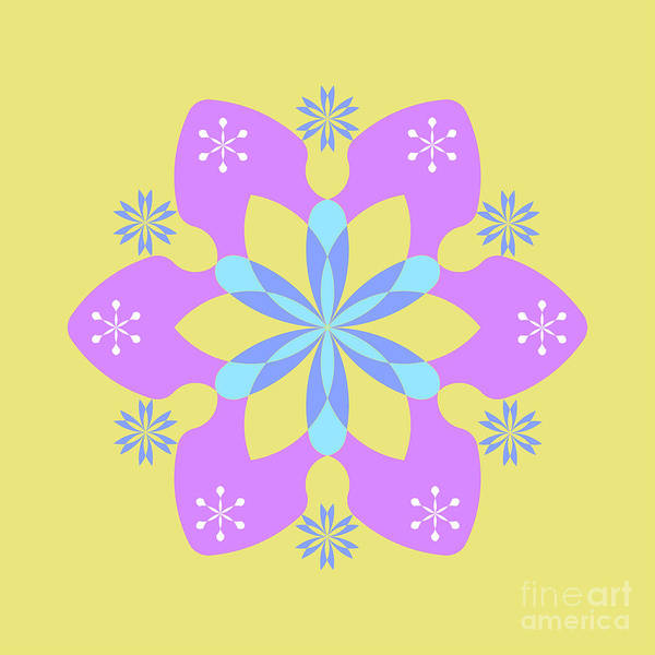 Cyan Digital Art - Purple, Blue And Yellow Square Abstract Star by Drawspots Illustrations