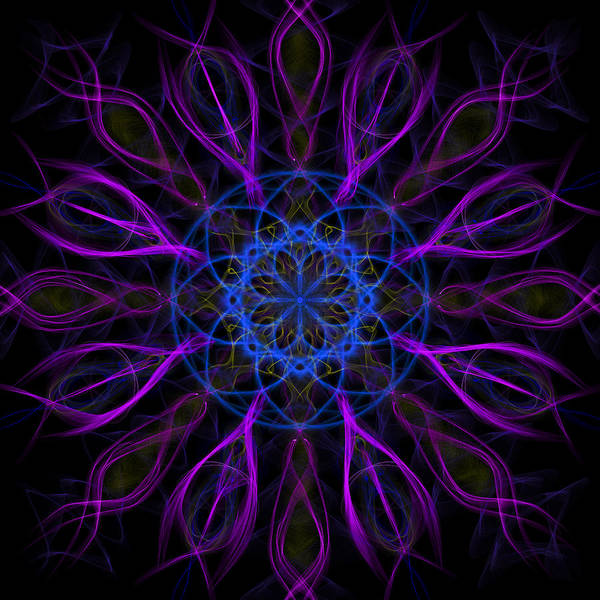 Digital Art - Purple Blue Kaleidoscope Square by Adam Romanowicz