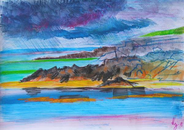 Mixed Media - Purple Clouds Stormy Sky At Fistral Beach by Mike Jory