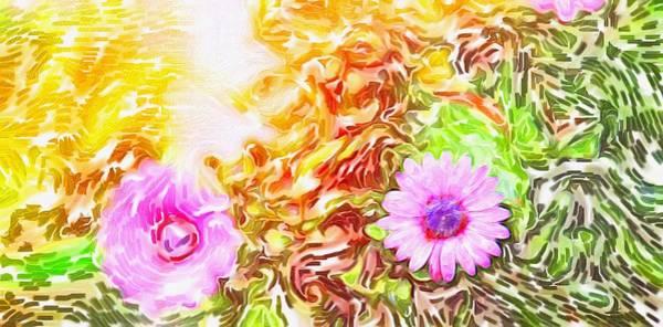 Osteospermum Painting - Purple Daisy by Sezer Akdeniz