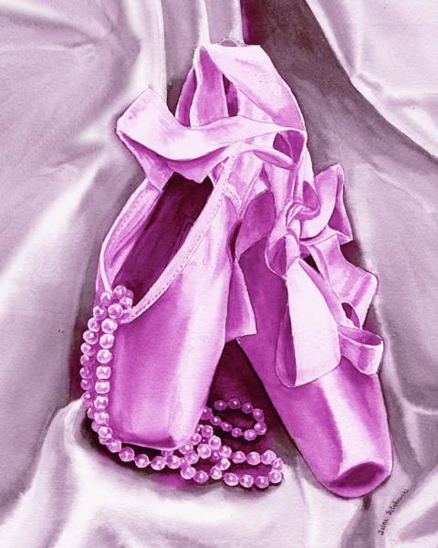 Wall Art - Painting - Purple Dancing Shoes by Irina Sztukowski