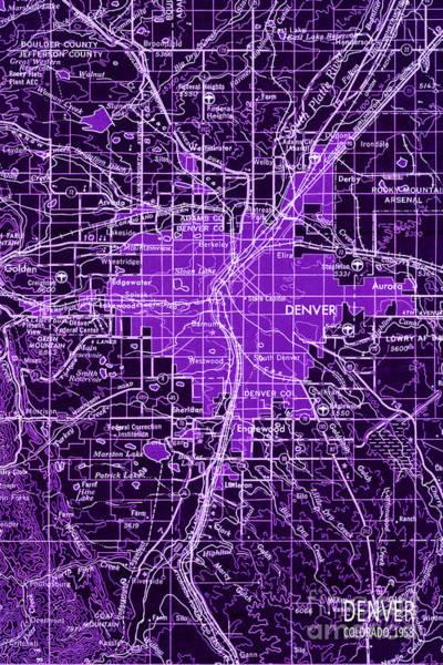 Manzana Wall Art - Digital Art - Purple Denver Antique Map by Drawspots Illustrations
