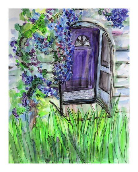 Mixed Media - Purple Doorway by Jenny Mead