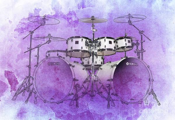 Wall Art - Drawing - Purple Drums by Drawspots Illustrations