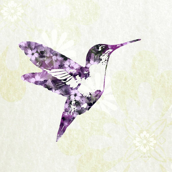 Wall Art - Mixed Media - Purple Floral Hummingbird Art by Christina Rollo