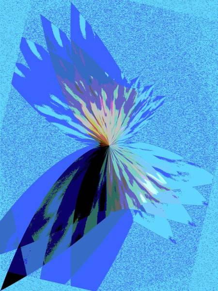 Wall Art - Digital Art - Purple Flower Blue 1 by Judy Nelson