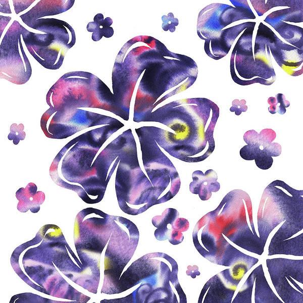 Hibiscus Flower Painting - Purple Flowers Dance by Irina Sztukowski
