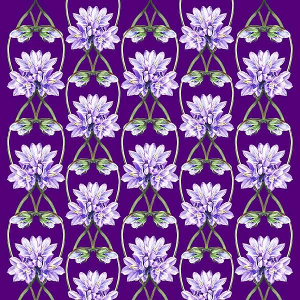 Painting - Purple Flowers Hearts Pattern by Irina Sztukowski