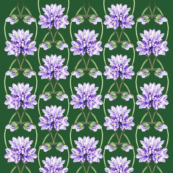 Wall Art - Painting - Purple Flowers Laces On Green Field by Irina Sztukowski