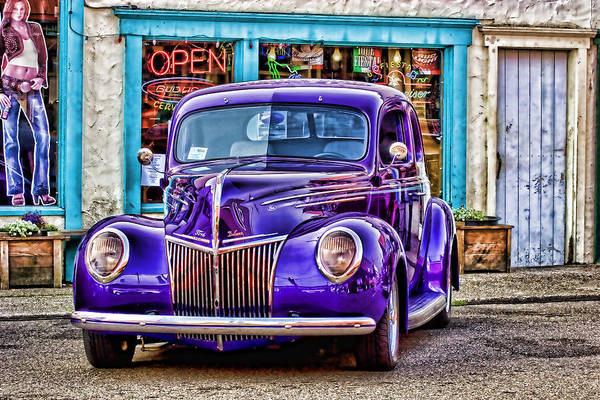 Roadster Wall Art - Photograph - Purple Ford Deluxe by Carol Leigh