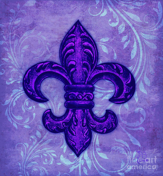 Wall Art - Painting - Purple French Fleur De Lys, Floral Swirls by Tina Lavoie