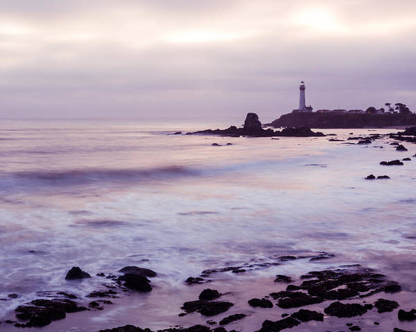 Art Print featuring the photograph Purple Glow At Pigeon Point Lighthouse Alternate Crop by Priya Ghose