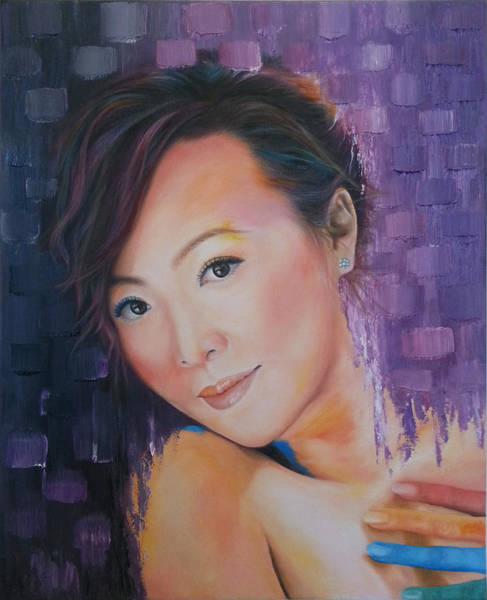 Finger Paint Painting - Purple Gray by Kathleen Wong