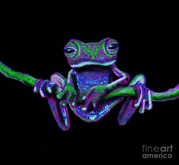 Wall Art - Painting - Purple Green Ghost Frog by Nick Gustafson