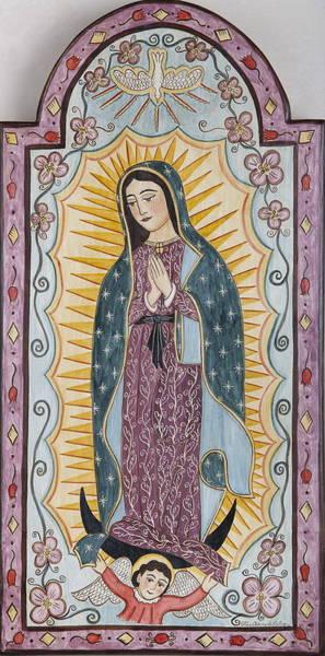 Wall Art - Painting - Purple Guadalupe by Ellen Chavez de Leitner