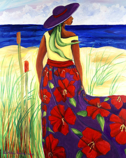 African Women Painting - Purple Hat by Diane Britton Dunham