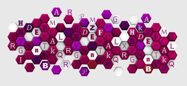 Digital Art - Purple Hexagons With Letters. by Alberto RuiZ