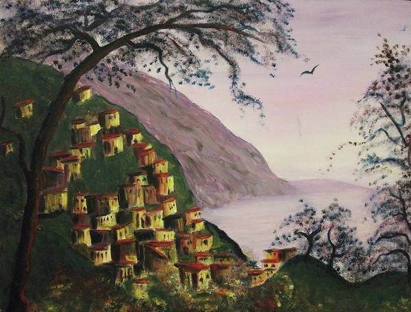 Leclair Painting - Purple Hill And Yellow Homes by Suzanne  Marie Leclair
