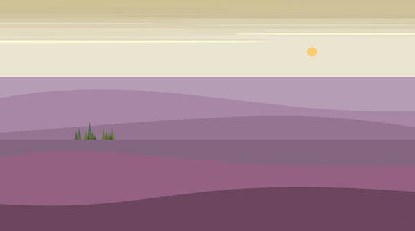 Digital Art - Purple Hilly Landscape by Val Arie