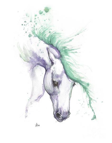 Wall Art - Painting - Purple Horse With Green Mane by Angel Ciesniarska