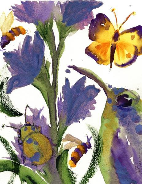 Painting - Purple Hummer - Yellow Butterfly by Dawn Derman