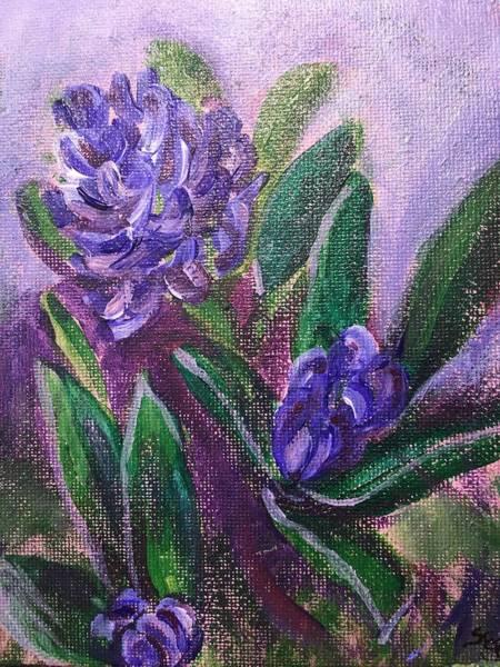 Wall Art - Painting - Purple Hyacinths In Early Spring  by Susan Brooks