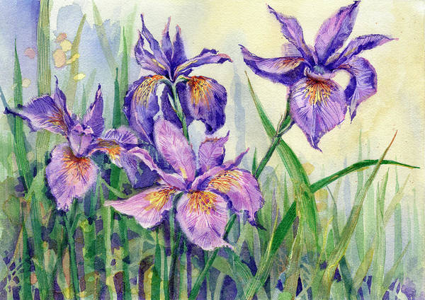 Painting - Purple Iris by Garden Gate