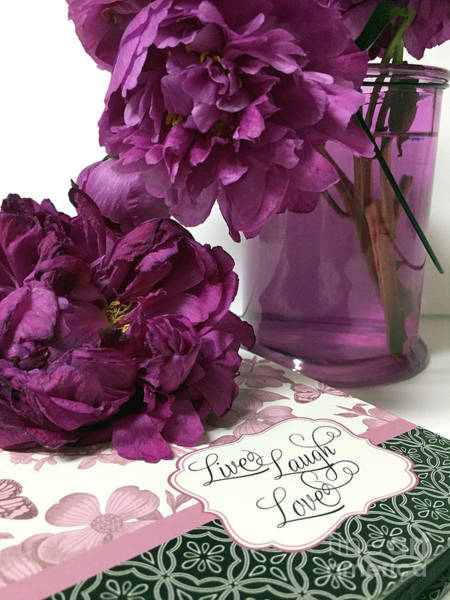 Wall Art - Photograph - Purple Lavender Peonies - Live Laugh Love Inspirational Peony Print Home Decor  by Kathy Fornal