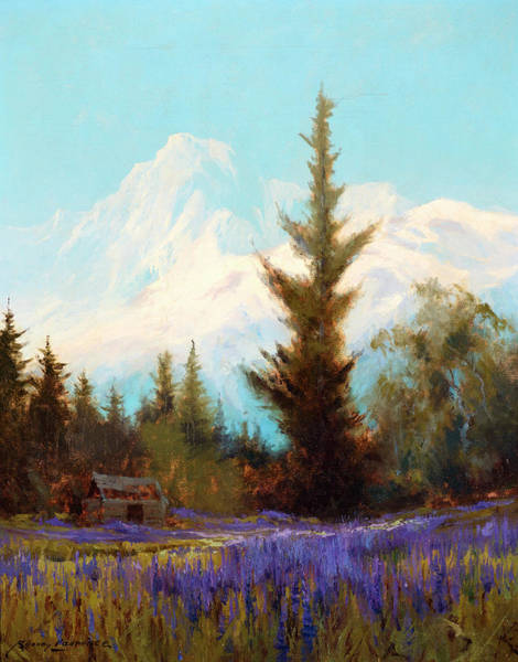 Wall Art - Painting - Purple Lupin, Near Juneau by Sydney Mortimer Laurence