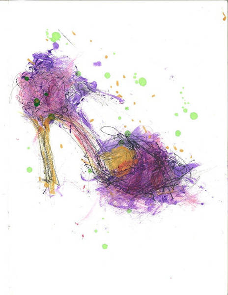 Pump Drawing - Purple Mardi Gras Shoe by Rhonda Corley