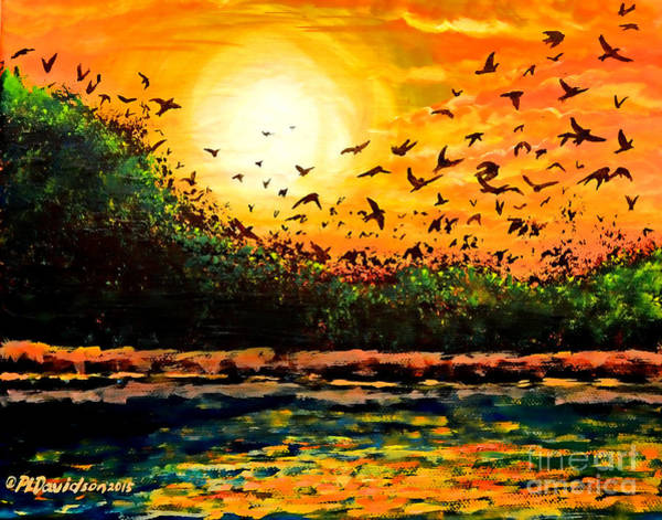 Roost Painting - Purple Martin Migration by Patricia L Davidson