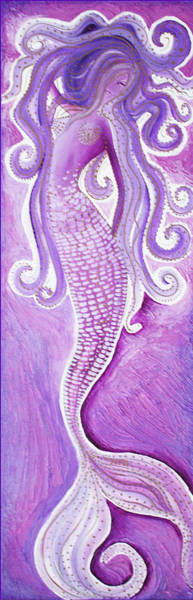 Wall Art - Painting - Purple Mermaid by Laura Barbosa