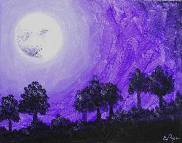 Painting - Purple Moon At Midnight by Emily Page