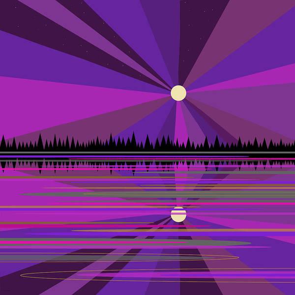 Semis Digital Art - Purple Moon Rise by Val Arie
