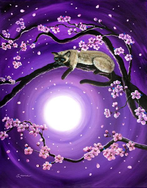 Siamese Cat Painting - Purple Moonlight Sakura by Laura Iverson