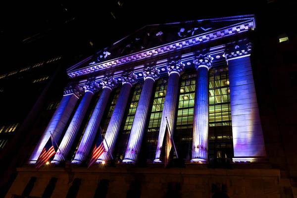 Digital Art - Purple New York Stock Exchange At Night - Impressions Of Manhattan by Georgia Mizuleva
