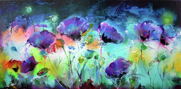 Feld Wall Art - Painting - Purple Opium Poppy, Poppies Modern Painting by Soos Roxana Gabriela