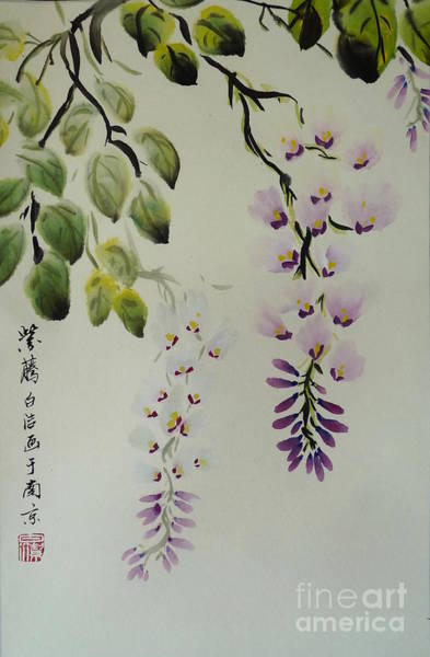 Chinese Brush Painting - Purple Orchid by Birgit Moldenhauer