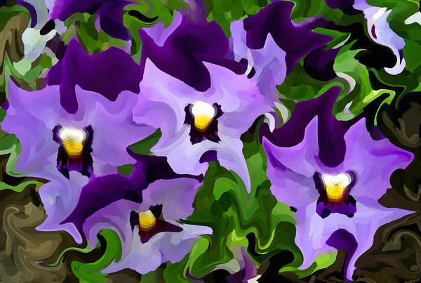 Digital Art - Purple Pansy Abstract by Shelli Fitzpatrick